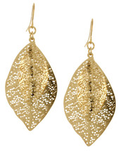 Golden Dots Leaf Earrings
