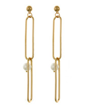 Oval Links Pearl Earrings