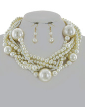 Twisted Pearl Necklace Set