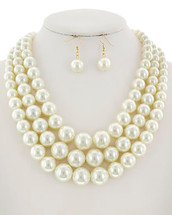 Triple Layer All Pearls Necklace Set