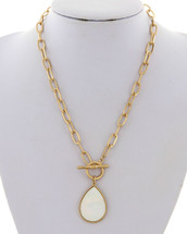 Mother Of Pearl Teardrop Toggle Necklace