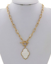 Mother Of Pearl Drop Toggle Necklace
