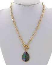Abalone Teardrop Toggle Link Necklace