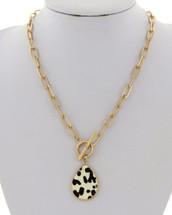 Animal Print Teardrop Toggle Link Necklace