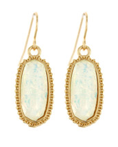 White + Gold Drop Earrings