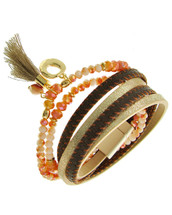 Layered Leather Beaded Earth Tones Bracelet