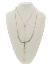 Grey Gold Layered Beaded Necklace