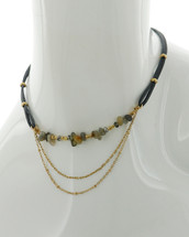 Gold + Grey Natural Stones Layered Necklace