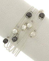 Multi Stand Silver Tones Magnetic Clasp Bracelet