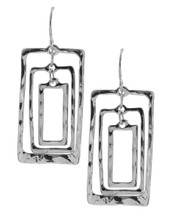 Three Hammered Rectangles Earrings