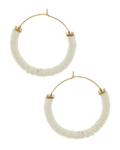 White + Gold Disc Hoops