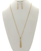 Classic Triangle Bar Hammered Necklace Set