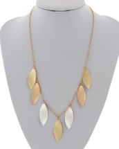 Tri Tone Leaves Necklace