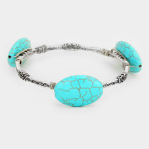 Turquoise Semi Precious Stones Bracelet: Gold OR Silver