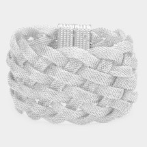 Woven Magnetic Clasp Bracelet: Gold Or Silver