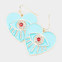 Evil Eye Heart Earrings - Turquoise