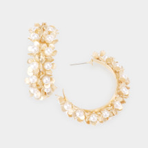 Double Row Pearl Flower Hoops