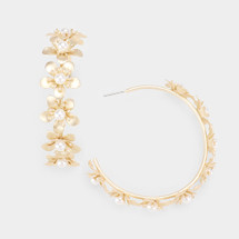 All Around Flower Pearl Hoops