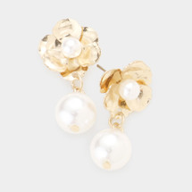 Floral Pearl Drop Earrings: Gold Or Silver