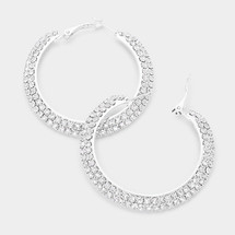 Crystal Pave Hoop Earrings - Silver