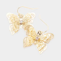 Layered Butterfly Earrings: Gold Or Silver