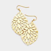 Patterned Filigree Teardrop Earrings: Gold Or Silver