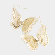 Embossed Crystal Butterfly Earrings: Gold Or Silver