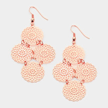 Floral Disc Dangle Earrings: Gold, Silver Or Rose