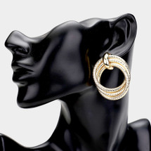 Knotted Triple Open Circle Earrings: Gold Or Silver