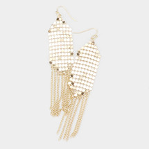 Mesh Metal Chain Fringe Earrings: Gold Or Silver