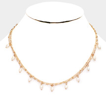 Double Layered Pearl Fringe Necklace