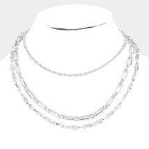 Triple Layered Metal Chain Necklace