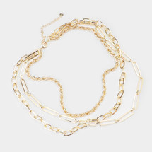 Paperclip Chain Layered Necklace: Gold Or Silver