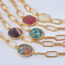 Semi Precious Stone Chain Necklace