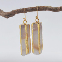 Natural Agate Druzy Gold Lines Earrings