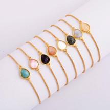 Teardrop Semi Precious Stones Bracelet