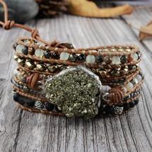 Pyrite Leather Wrap Bracelet
