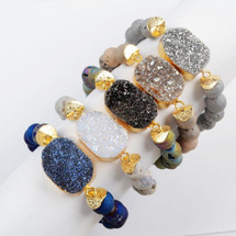 Natural Druzy Stone Beaded Plated Bracelet