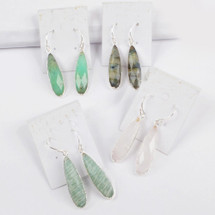 Stone Faceted Earrings - Silver - More Colors