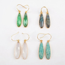 Stone Faceted Earrings - Gold - More Colors