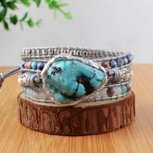 Boho Natural Turquoise Leather Wrap Bracelet