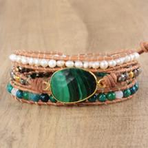 Malachite Pearl Leather Wrap Bracelet