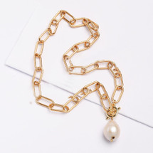 Natural Pearl Chain Link Necklace