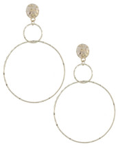 Double Hammered Hoops: Gold OR Silver