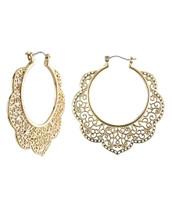 Filigree Wavy Hoop Earrings: Gold Or Silver