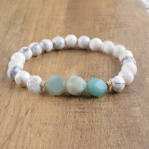 Amazonite Howlite Semi Precious Bracelet