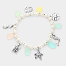 Sea Glass Sea Life Stretch Bracelet