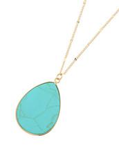 Turquoise Semi Precious Teardrop Stone Necklace