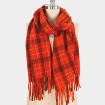 Plaid Check Fringes Scarf - Red