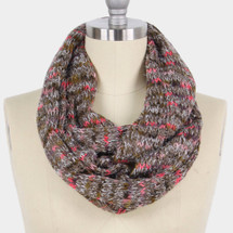 Yarn Knot Infinity Scarf - Taupe
